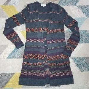 Knox Rose Striped Duster Sweater Cardigan MEDIUM